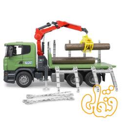 Scania R-Serie Holztransport- LKW, Ladekran,Greifer+3Baumst. 03524
