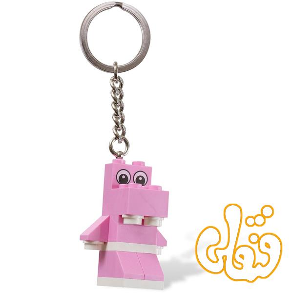 لگو ساختنی آویز کلید اسب آبی صورتی Pink Hippo Key Chain 850416