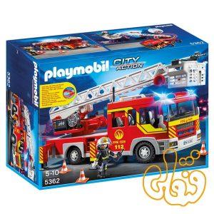 ماشین نردبان آتش نشانی پلی موبیل Fire Truck Ladder Unit with Lights & Sounds Playset 5362