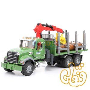 ماشین کامیون حمل چوب ماک برودر Granite Timber truck with loading crane and 3 trunks 02824