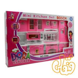 آشپزخانه کابینت یخچال و گاز و سینک و ماکروفر طرح دورا 5566