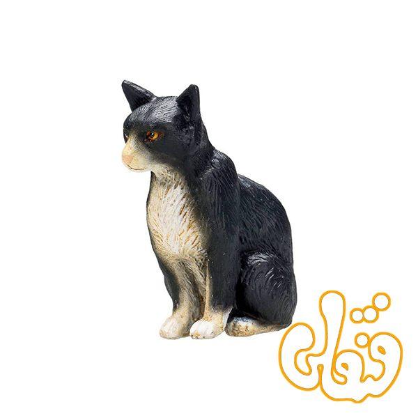 گربه نشسته سیاه و سفید Cat Sitting Black and White 387371