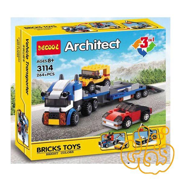ساختنی لگو 3 مدل تریلی حمل ماشین 3114