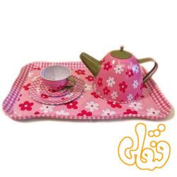 ست چایخوری قوری و فنجان فلزی صورتی PY555-67