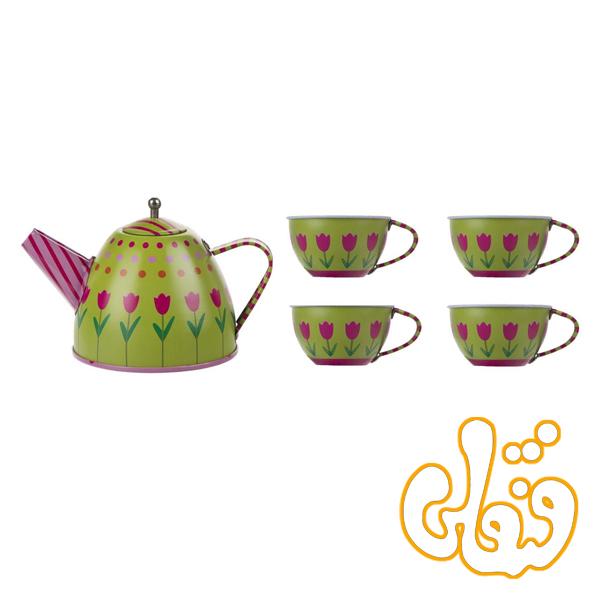 ست چایخوری قوری و فنجان فلزی سبز PY555-67