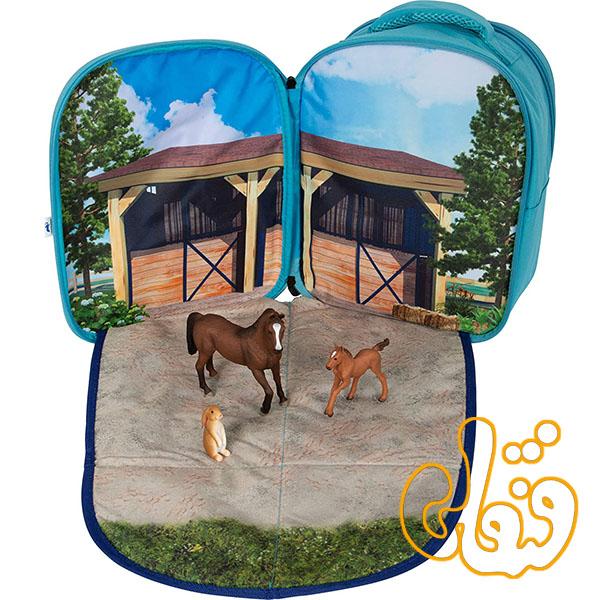 کیف کوله پشتی سه بعدی اسب با سه عدد فیگور موجو فان 3D Horse Junior Backpack with 3 Figures 387724